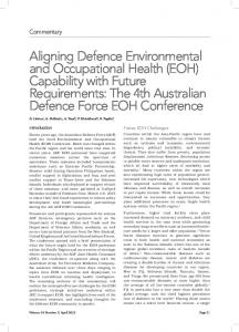 Aligning Defence Environmental and Occupational Health (EOH ...