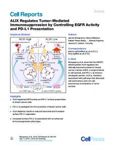 ALIX Regulates Tumor-Mediated Immunosuppression by Controlling ...