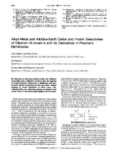 Alkali-Metal and Alkaline-Earth Cation and Proton Selectivities of ...