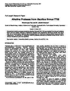 Alkaline Protease from Bacillus firmus 7728 - Academic Journals