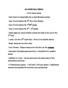 ALL OHIO FALL FINALE 2013 Game Rules -Each team is ...