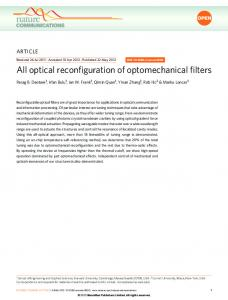 All optical reconfiguration of optomechanical filters - Nature