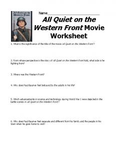 all quiet on the western front tone mood Stars: charles laughton, clark gable, franchot tone with it's ambiguous portrait of war, all quiet on the western front never actually condemns (nor condones.