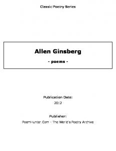 Allen Ginsberg - poems - - PoemHunter.Com