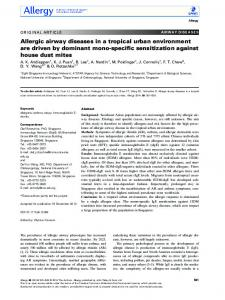 Allergic airway diseases in a tropical urban ... - Wiley Online Library