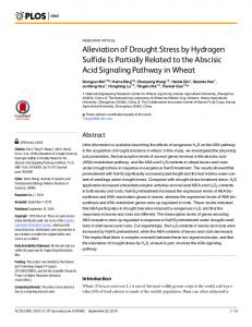 Alleviation of Drought Stress by Hydrogen Sulfide ... - Semantic Scholar