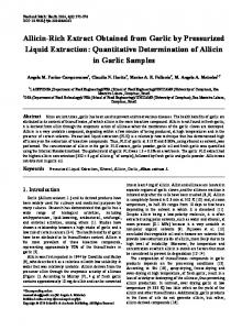 Allicin-Rich Extract Obtained from Garlic by Pressurized Liquid ...