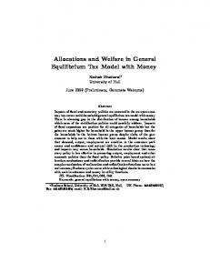 Allocations and Welfare in General Equilibrium Tax Model ... - CiteSeerX