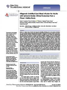 Allogeneic Umbilical Cord Blood Infusion for ... - Stem Cells Journals