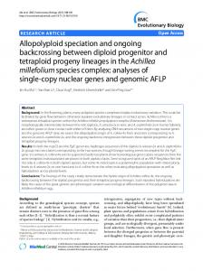 Allopolyploid speciation and ongoing backcrossing ... - CiteSeerX