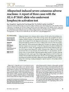 Allopurinol-induced severe cutaneous adverse reactions: A report of ...