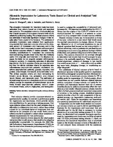 Allowable Imprecisionfor Laboratory Tests Based ... - Clinical Chemistry