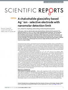 alloy based Ag+ ion - selective electrode with