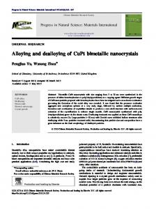 Alloying and dealloying of CuPt bimetallic nanocrystals - Core