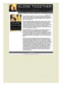 Alone Together by Sherry Turkle - LabTec-CS