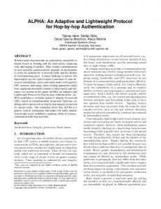 ALPHA: An Adaptive and Lightweight Protocol for Hop-by ... - CiteSeerX