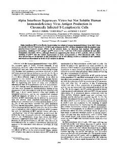 Alpha Interferon SuppressesVirion but Not ... - Journal of Virology
