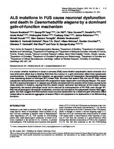 ALS mutations in FUS cause neuronal dysfunction and death in ...