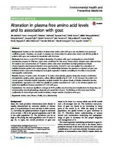 Alteration in plasma free amino acid levels and its
