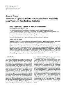 Alteration of Cytokine Profiles in Uranium Miners Exposed to Long ...