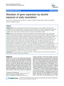 Alteration of gene expression by alcohol exposure at ... - BioMedSearch