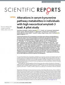 Alterations in serum kynurenine pathway metabolites ...