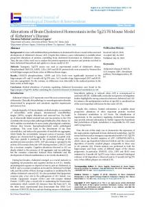Alterations of Brain Cholesterol Homeostasis in ... - Graphy Publications