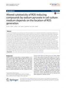 Altered cytotoxicity of ROS-inducing compounds by ... - Springer Link