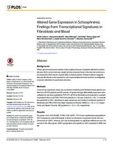 Altered Gene Expression in Schizophrenia: Findings from ... - PLOS