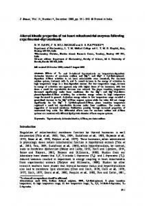 Altered kinetic properties of rat heart mitochondrial ... - Springer Link