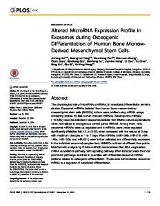 Altered MicroRNA Expression Profile in Exosomes during ... - PLOS