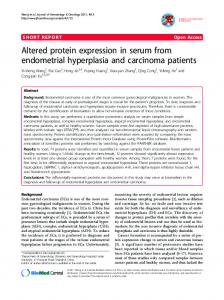Altered protein expression in serum from endometrial hyperplasia and ...