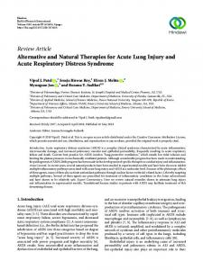 Alternative and Natural Therapies for Acute Lung Injury and Acute ...