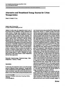 Alternative and Transitional Energy Sources for Urban ... - Springer Link