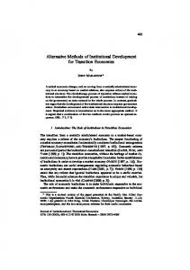 Alternative Methods of Institutional Development ... - Dr. John Marangos