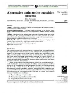 Alternative paths to the transition process - Dr. John Marangos