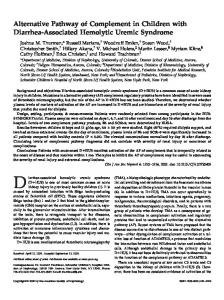 Alternative Pathway of Complement in Children with Diarrhea ...