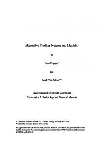 Alternative Trading Systems and Liquidity