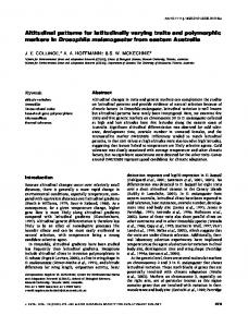 Altitudinal patterns for latitudinally varying traits ... - Wiley Online Library