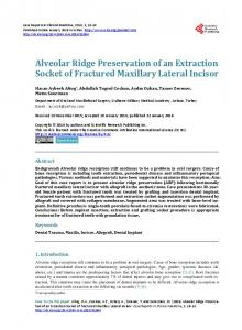Alveolar Ridge Preservation of an Extraction Socket of Fractured ...