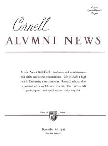 ALVMNI NEWS - eCommons@Cornell - Cornell University