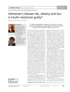 Alzheimers disease risk, obesity and tau: is insulin
