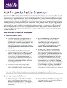 AMA Principles for Physician Employment