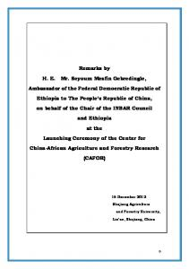 Ambassador's Spech, final - The Ethiopia Embassy in China