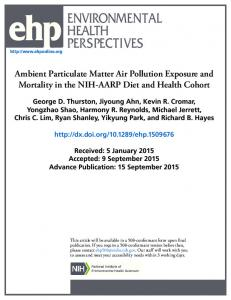 Ambient Particulate Matter Air Pollution Exposure and Mortality in the ...