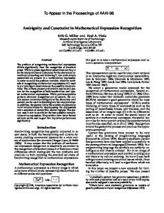 Ambiguity and Constraint in Mathematical Expression Recognition ...