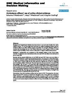 Ambulance officers' use of online clinical evidence