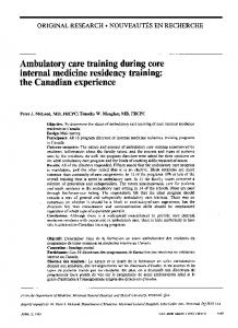 Ambulatory care training during core internal medicine ... - Europe PMC