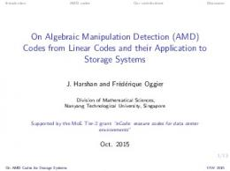 (AMD) Codes from Linear Codes and their Application to Storage