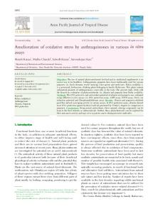 Amelioration of oxidative stress by anthraquinones in various in vitro ...
